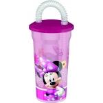 Pahar pentru copii BBS cu pai spiralat Minnie Mouse 400ml