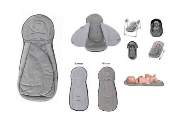 Saltea si protectie suplimentara pentru carucior copii cu 2 fete BO Jungle pentru frig Gri