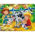 Puzzle Copiii la Ferma cu Vaca, 18 Piese Larsen LRBM5
