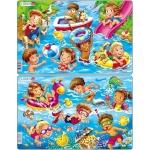 Set 2 Puzzle-uri Copii la Mare, 11 piese Larsen LRU18
