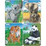 Set 4 Puzzle-uri Animale: Koala, Elefant, Tigru, Panda, 8 piese Larsen LRV4