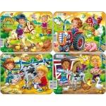 Set 4 Puzzle-uri Copii la Ferma, 9 piese Larsen LRZ11