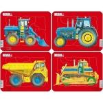 Set 4 Puzzle-uri Tractoare, Basculata si Buldozer, 10 piese Larsen LRZ1
