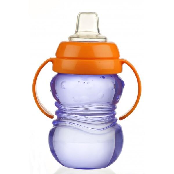Cana anticurgere Minut Baby 6+ cu manere si cioc silicon 275 ml Indigo