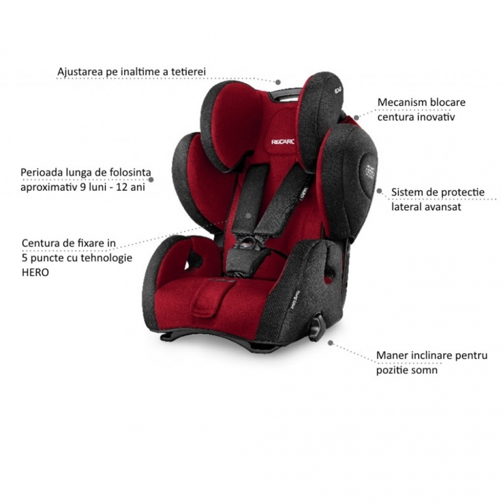 Scaun Auto pentru Copii fara Isofix Young Sport Hero Racing Red imagine