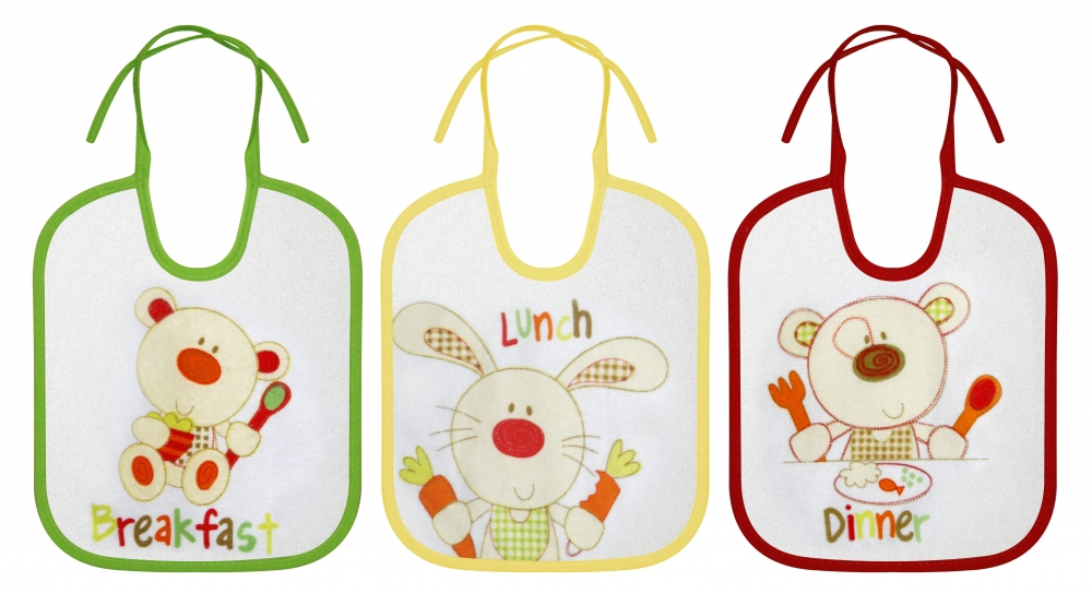 Set 3 Bavete small bumbac - inchidere cu siret Animale