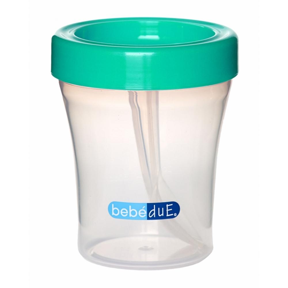 Biberon din silicon 230 ml cu lingurita BebeduE 80169