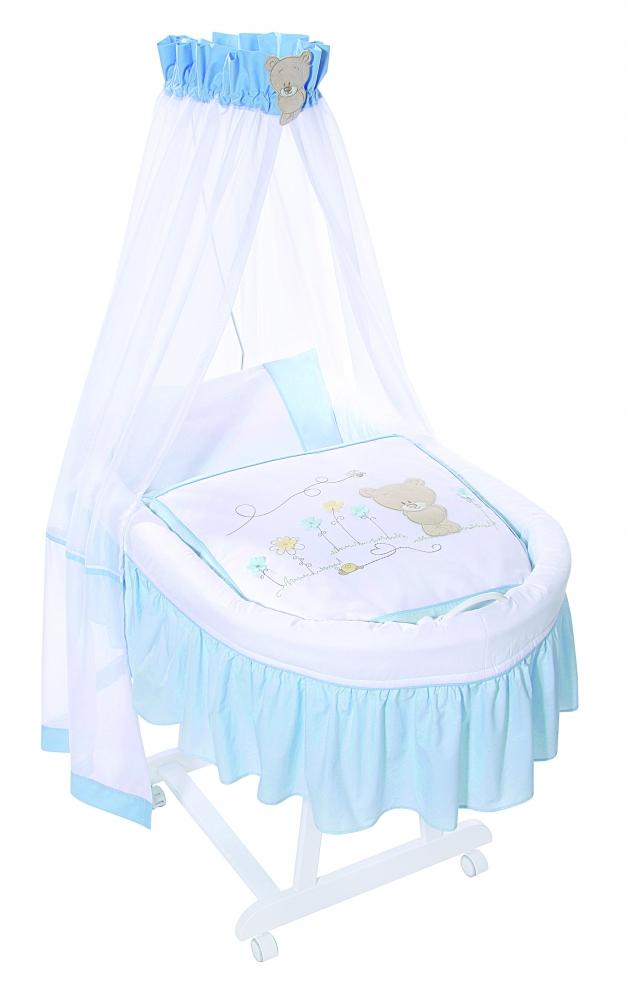 Cos Nou Nascut Lemn - Honey Bear Albastru