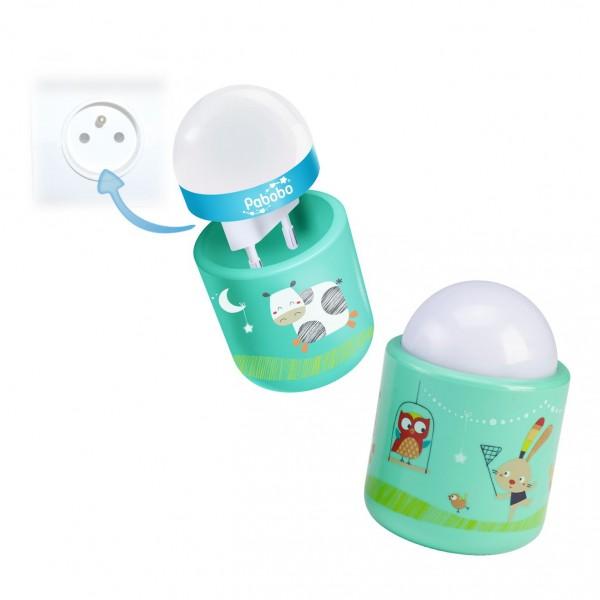 Lampa de veghe pentru copii si bebelusi Pabobo Nomade Iepuras si Vacuta cu LED imagine