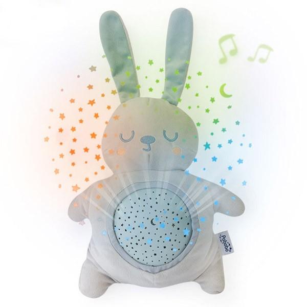 Lampa de veghe si proiector stelute pentru copii si bebelusi Pabobo jucarie din plus Iepuras cu melodii linistitoare imagine