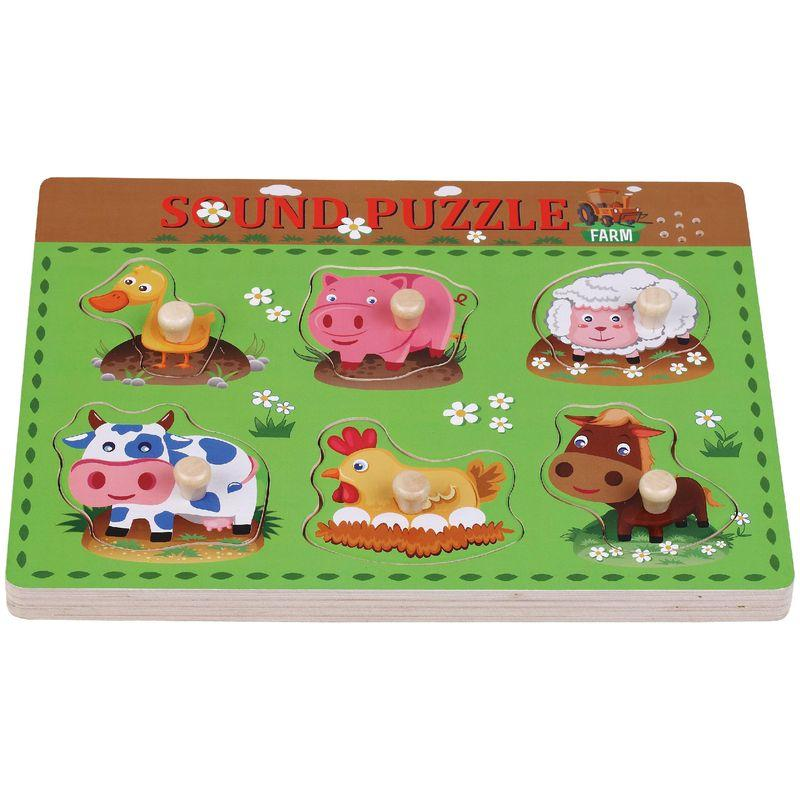 Puzzle din lemn Ferma Animalelor Sun Baby