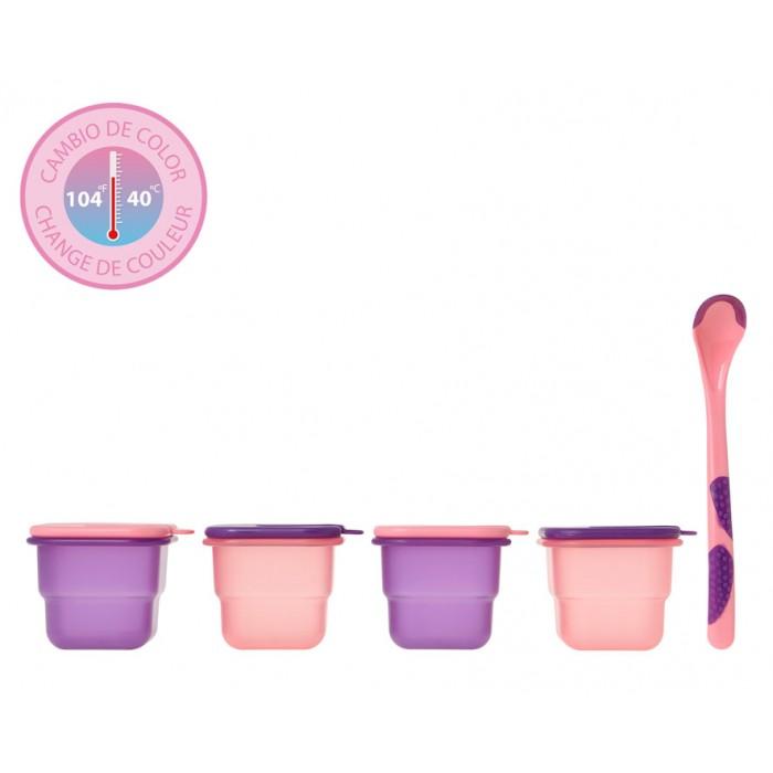 Set 4 recipiente 120ml si lingurita termosensibila roz