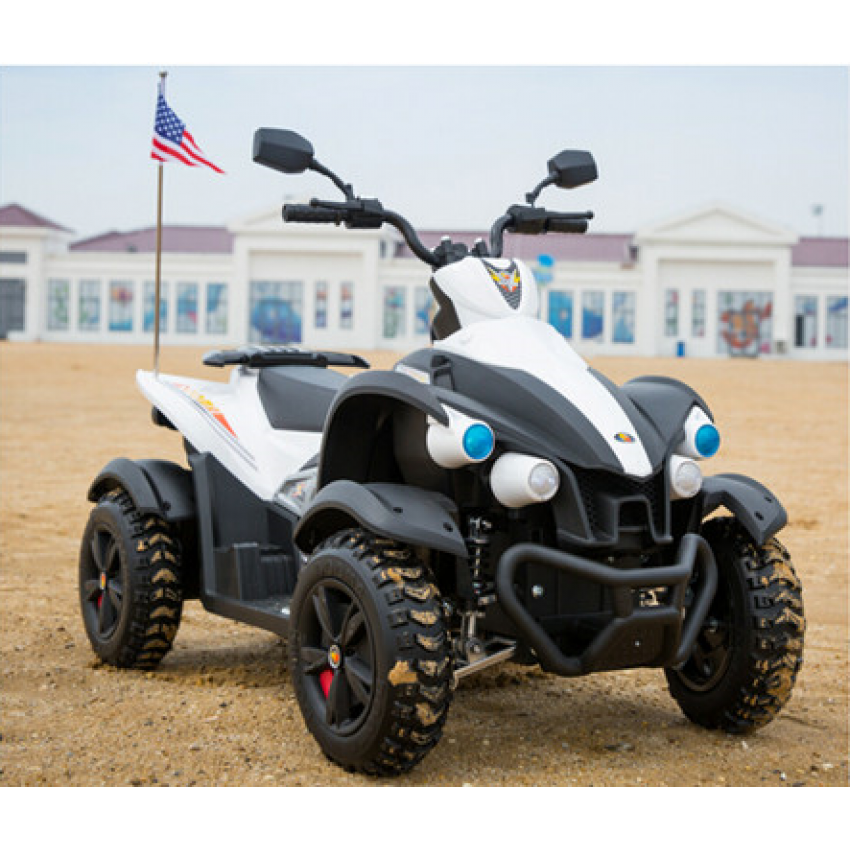 Atv electric cu roti din cauciuc Hawk White