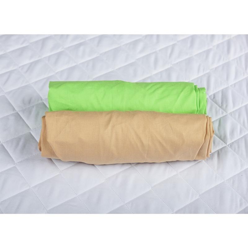 Set 2 x cearceaf cu elastic pt patut de 120x60 cm cappucino+verde