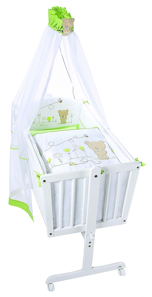 Cos si leagan nou nascut lemn alb honey bear green