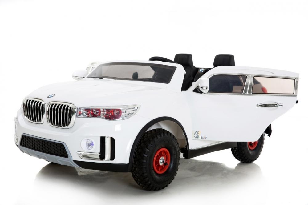 Masinuta electrica cu doua locuri si roti din cauciuc Impress Jeep Alb
