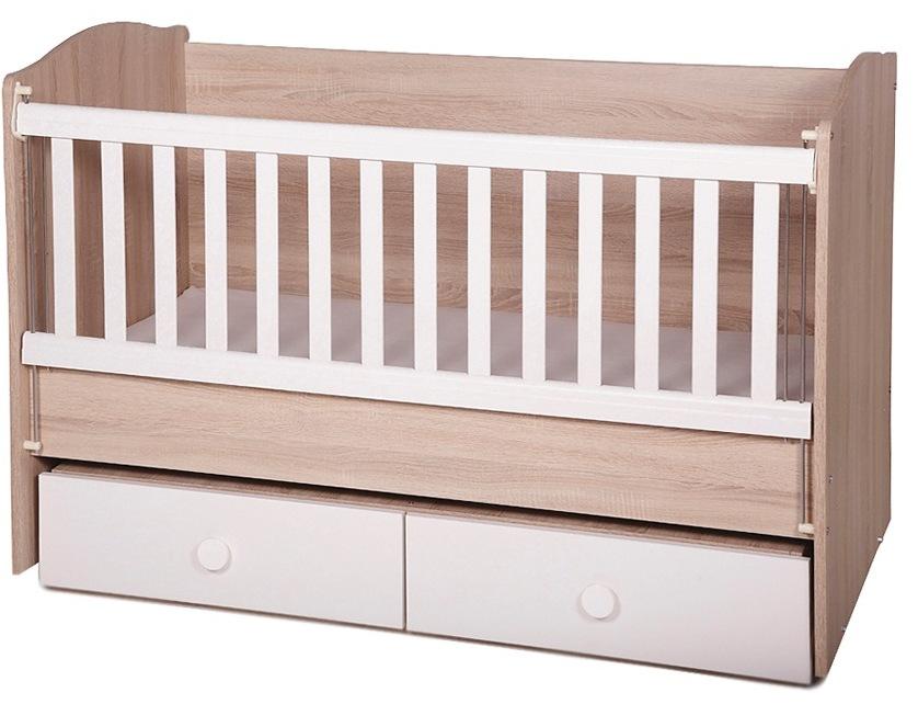 Patut din lemn cu sertar si sistem de leganare Tony Oak White + Saltea 12 cm imagine