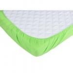 Set 2 x cearceaf cu elastic pt patut de 120x60 cm verde+alb