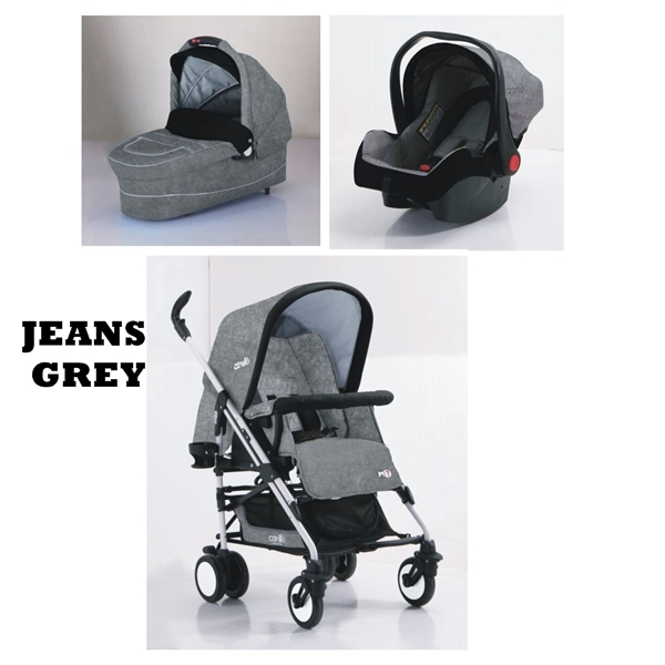 Carucior M7 sistem 3 in 1 Carello Jeans Grey