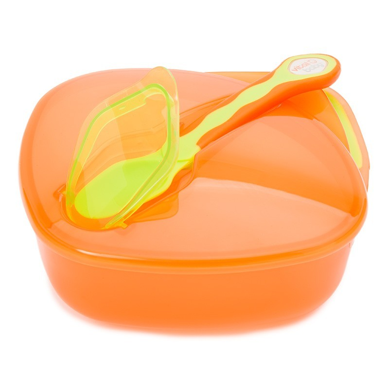 Set castron cu lingurita si capac 6 luni + portocaliu