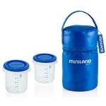 Set 2 recipiente plastic cu geanta Miniland blue
