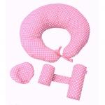 Set primele perne ale bebelusului Deluxe buline albe pe roz