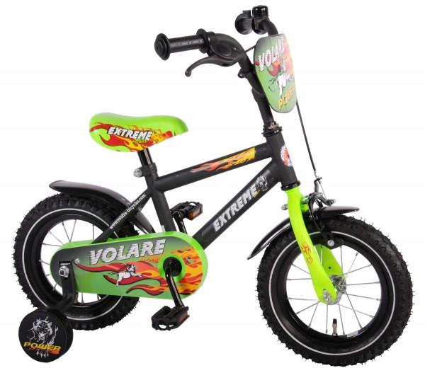 Bicicleta baieti 12 inch Volare Extreme cu roti ajutatoare si vopsea negru mat