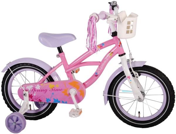 Bicicleta fete 14 inch Volare Bike Spring Time cu roti ajutatoare pompoane la ghidon si cosulet