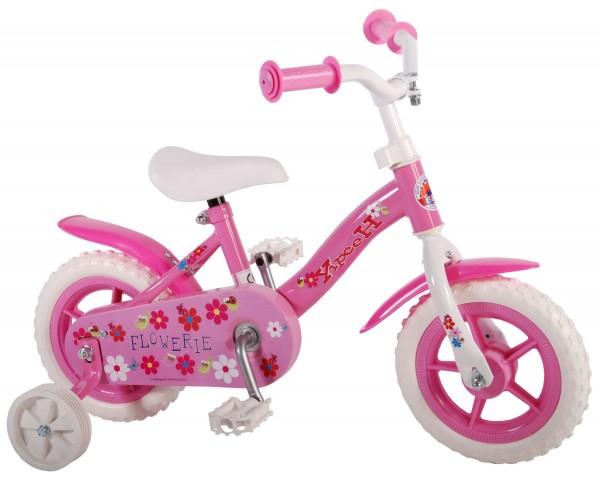 Bicicleta fetite 10 inch Volare Flowerie Roze cu roti ajutatoare