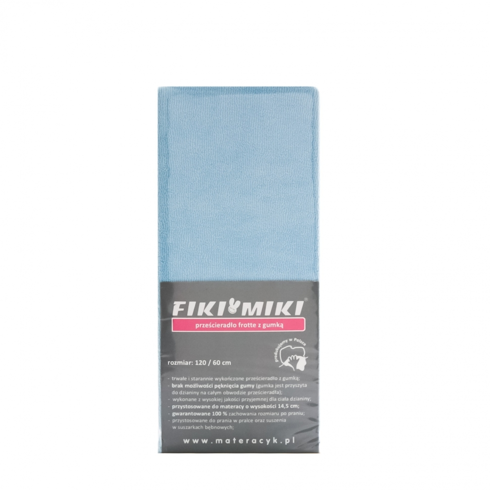 Cearceaf cu elastic din frotir bleu 120x60 cm