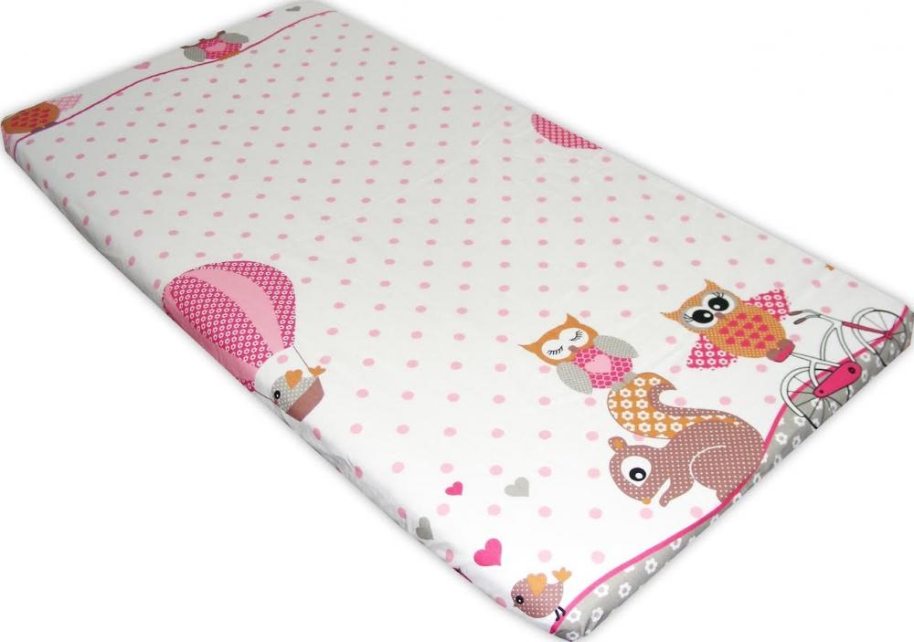 Cearceaf din bumbac cu elastic Owls roz imagine