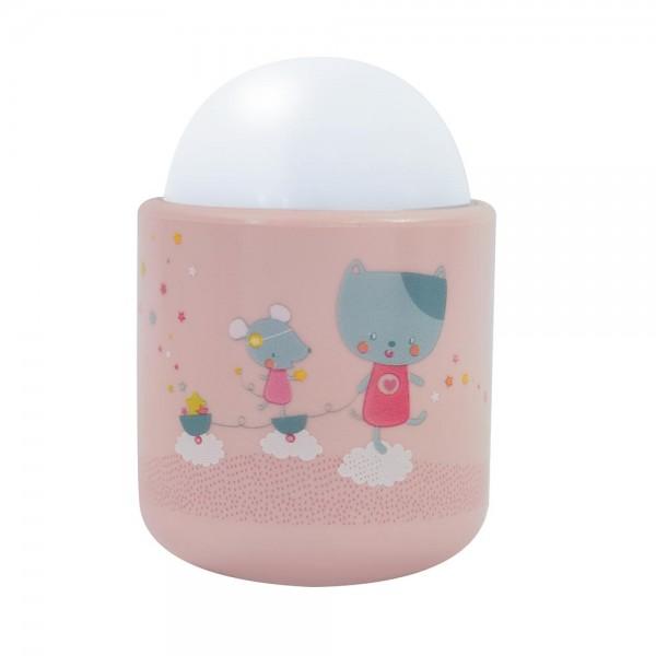 Lampa de veghe Pabobo Nomade Pisicuta si Soricel culoare Roz pal cu Led reincarcabila imagine