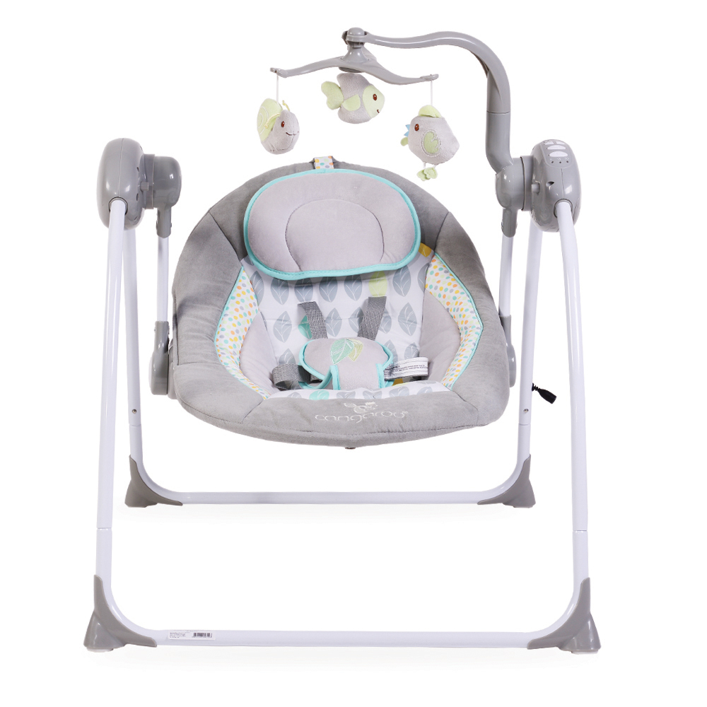 Leagan electric cu conectare la priza Baby Swing+ Grey imagine