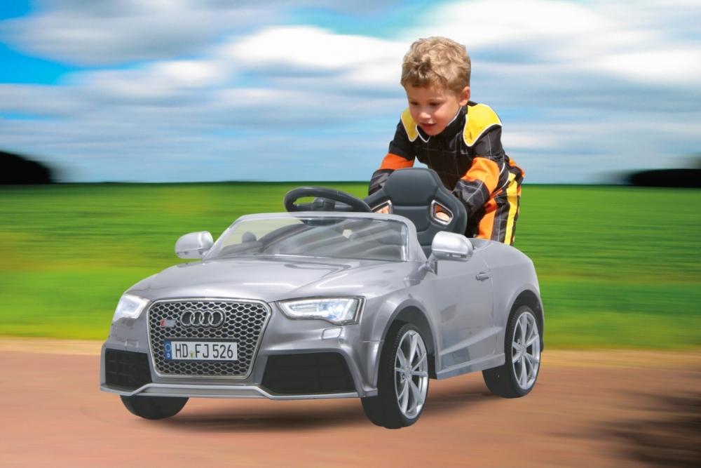 Masinuta electrica Audi RS5 gri metalizat 12V cu telecomanda si MP3 player