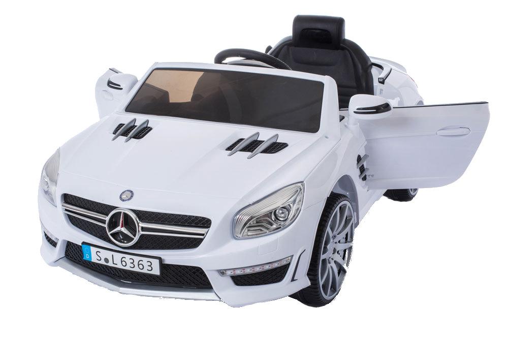 Masinuta Electrica Cu Roti Din Cauciuc Mercedes Benz Amg Sl63 White