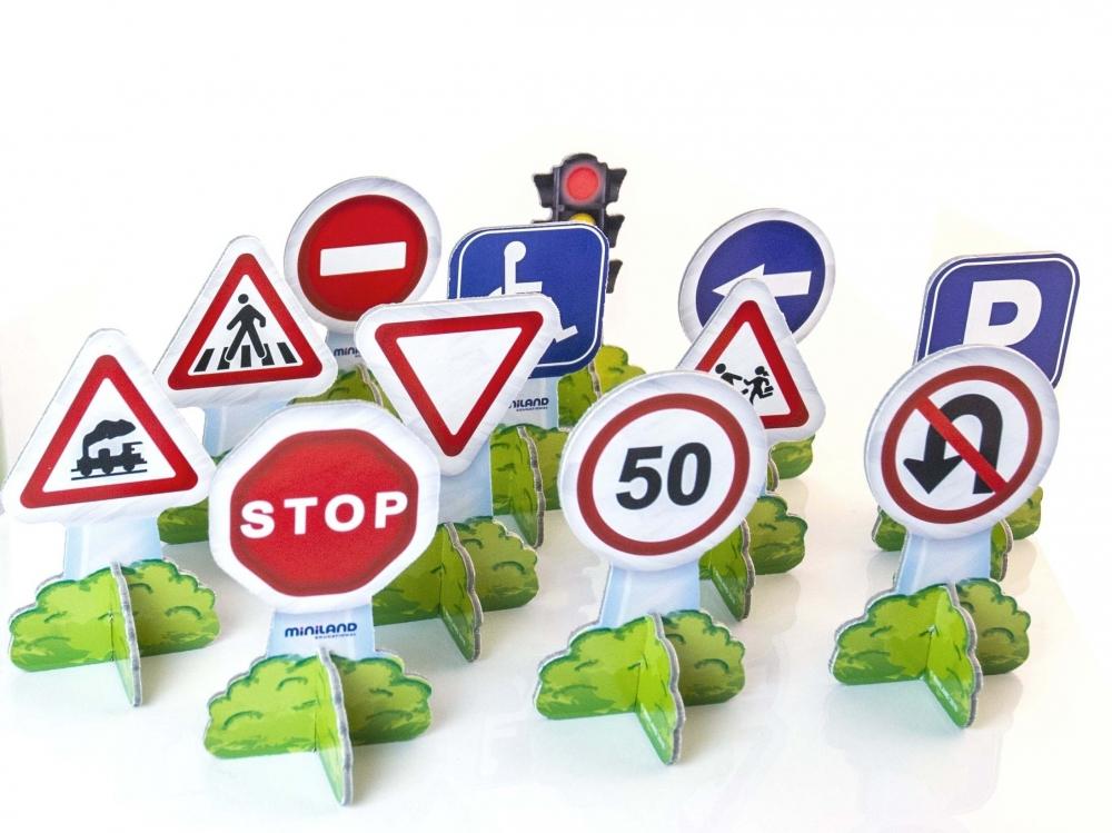 Set 12 semne de circulatie mini Miniland - 2