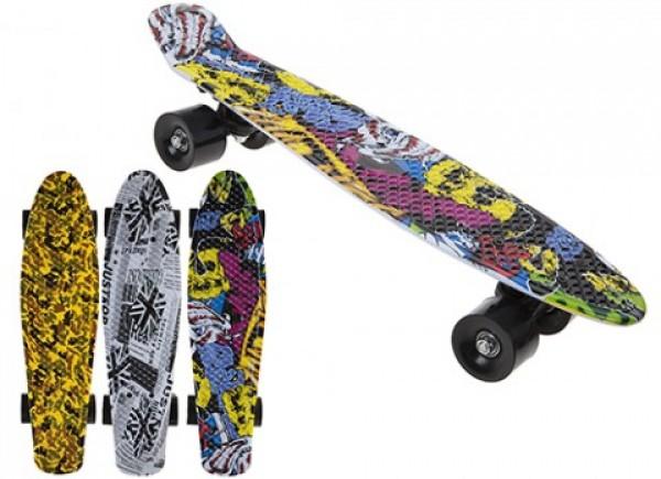 Skateboard copii longboard model Retro Multicolor 57cm lungime 50kg imagine