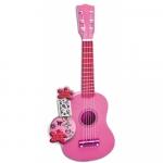 Chitara din lemn roz cu stickere