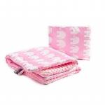 Lenjerie Sensillo Minky set 100x75/35x30 cm pink/elephants white