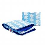 Lenjerie Sensillo Minky set 100x75/35x30 cm cm blue/elephants white
