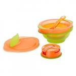 Set 2x bol Incredibil cu capac si lingurita 9+ portocaliu