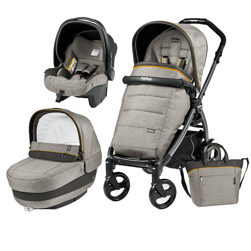 Carucior 3 In 1 Peg Perego Book Plus 51 Black Completo Elite Luxe Grey