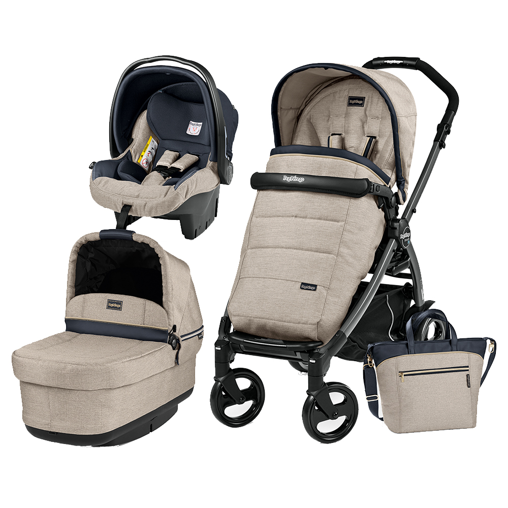 Carucior 3 In 1 Peg Perego Book Plus 51 Black POP-UP Elite Luxe Beige