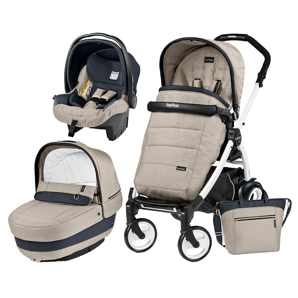 Carucior 3 In 1 Peg Perego Book Plus 51 BlackWhite Completo Elite Luxe Beige