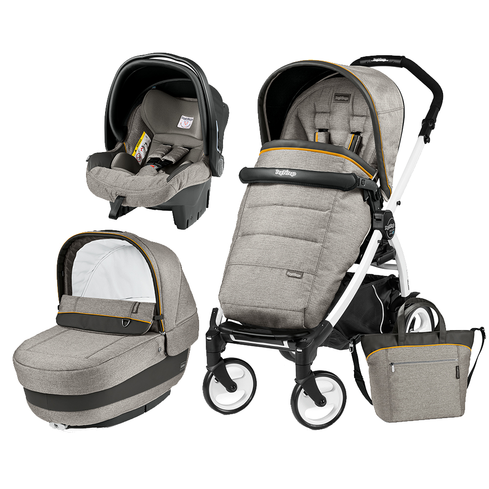 Carucior 3 In 1 Peg Perego Book Plus 51 BlackWhite Completo Elite Luxe Grey
