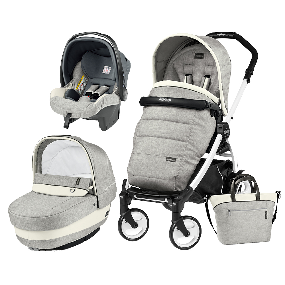 Carucior 3 In 1 Peg Perego Book Plus 51 BlackWhite Completo Elite Luxe Opal