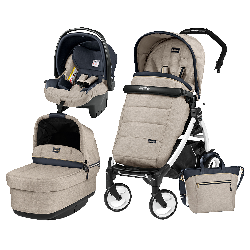 Carucior 3 In 1 Peg Perego Book Plus 51 BlackWhite POP-UP Elite Luxe Beige