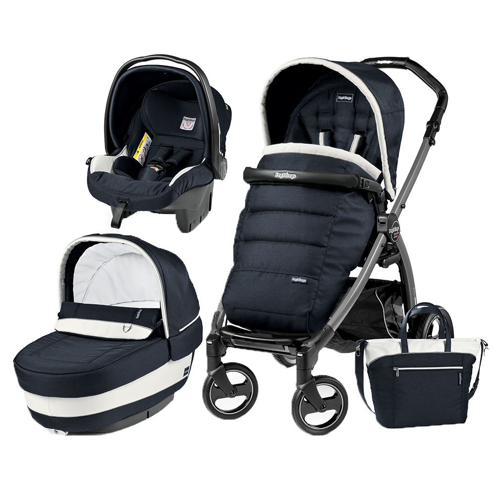 Carucior 3 In 1 Peg Perego Book Plus S Black Completo Elite Luxe Blue