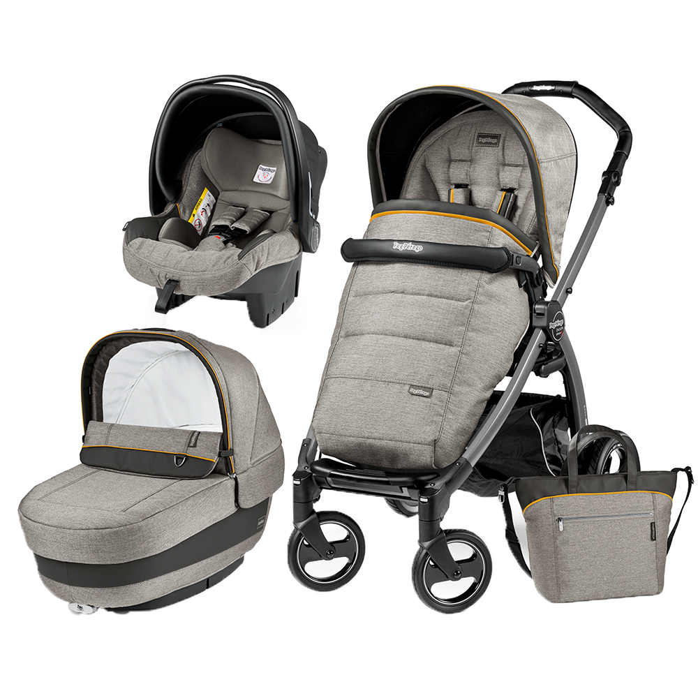 Carucior 3 In 1 Peg Perego Book Plus S Black Completo Elite Luxe Grey