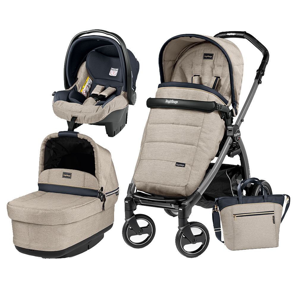 Carucior 3 In 1 Peg Perego Book Plus S Black POP-UP Elite Luxe Beige